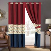 4-P Tommi Chevron ZigZag Herringbone Embroidery Curtain Set Blue Red Beige Liner - $40.89