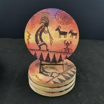 4 pc set Thirstystone Natural Sandstone Coasters Sunset Kokopelli Cork B... - $12.77