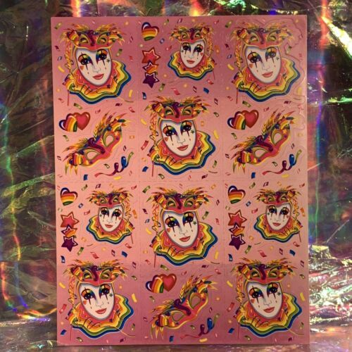 ⚡️SALE  S245 Lisa Frank Full Sticker Sheet MASKS CLOWN MARDI GRAS