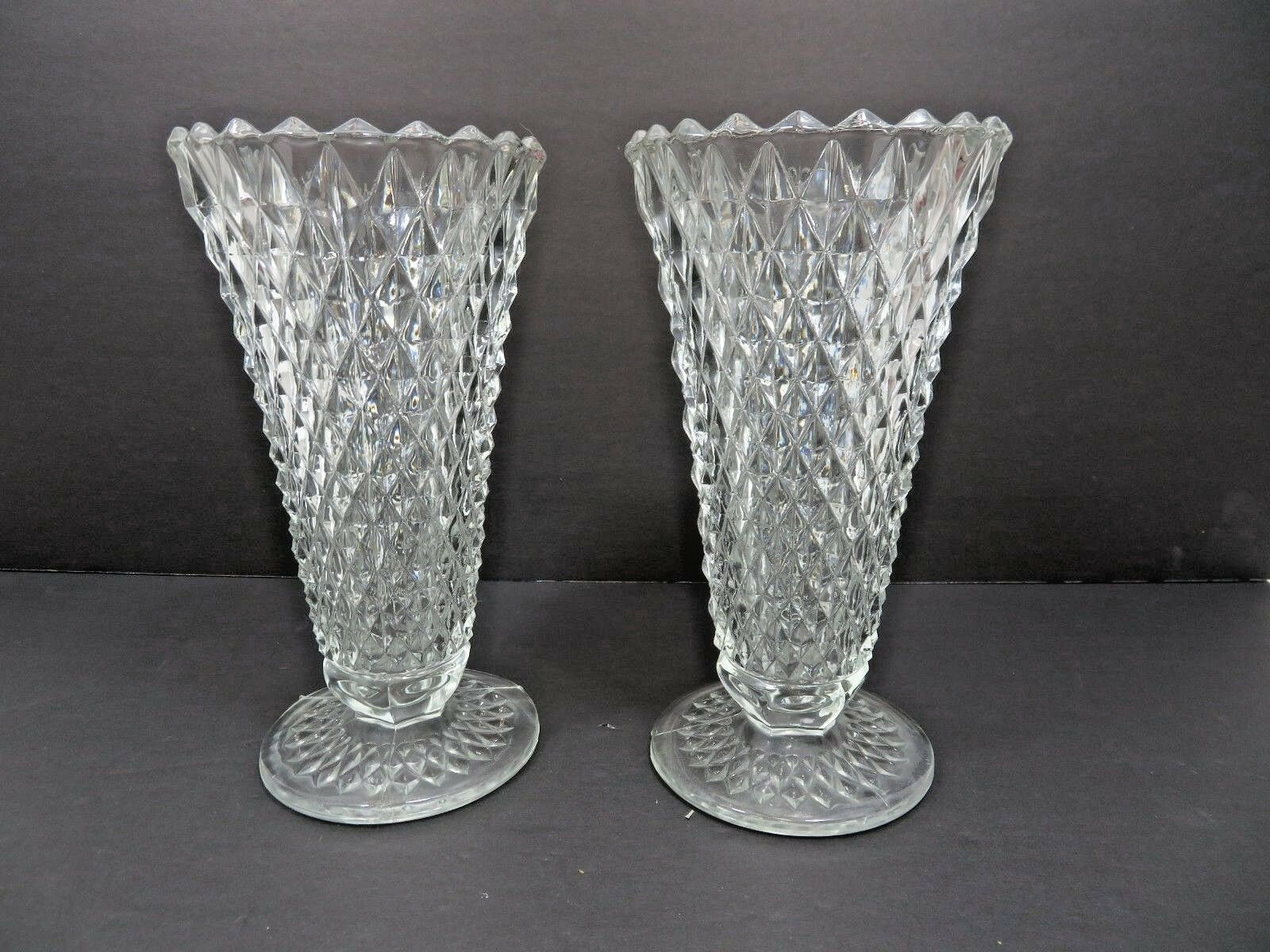 Primary image for Vintage Mid Century Tall Elegant Heisey pair of vase