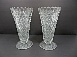 Vintage Mid Century Tall Elegant Heisey pair of vase - $70.00