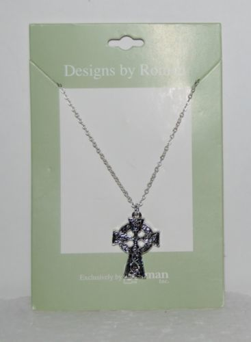 Roman Inc. 60082 Traditional Celtic Cross Necklace Silver Color 1 Inch
