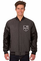 Los Angeles Kings Wool & Leather Reversible Jacket with 2 Front Logos Gray - $219.99