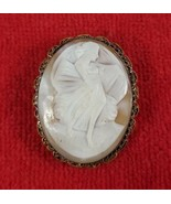 Large Shell Cameo Gold Filled Brooch Pin ~ Terpsichore Muse Greek Mythol... - $123.75