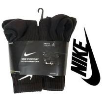 Nike Unisex Everyday Cotton Cushioned Black Crew Sock 6 Pack M 8-12 / W ... - $39.57