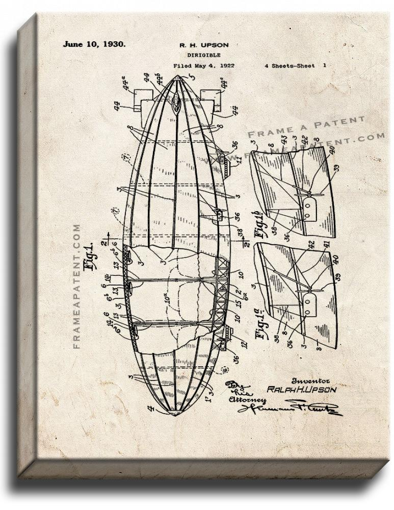 Primary image for Dirigible Patent Print Old Look on Canvas