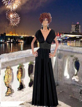 Womens Maxi Black Dress With Jeweled Center Made To Measurement - $160.00