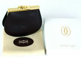 Must de Cartier Bordeaux Leather Coin Case Wallet Coin Purse W/ Dust Cov... - $127.71