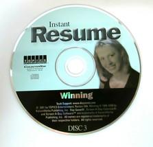 Instant Resume Disc 3 (part of set) WINNING 2001 PC Computer Software Jo... - $4.50