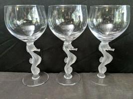 "3 Bayel France Crystal Seahorse Stem Water Goblets 7.25"" c1980 - $140.21"