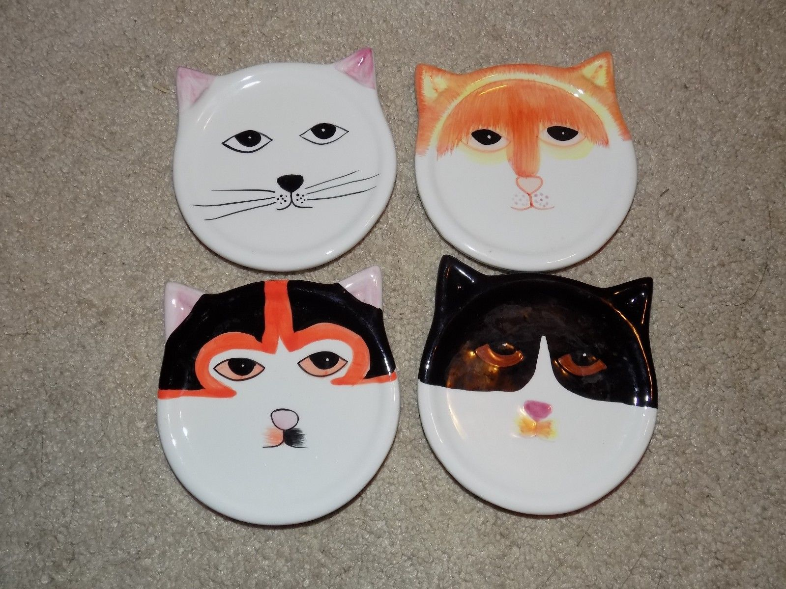 Primary image for FOUR Hand-Painted Ceramic CAT Coasters by Bandwagon 2001- Cat Coasters EUC