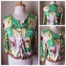 CAbi Women's Cardigan Sweater Knit Cotton Green Key Print Long Sleeve Ca... - $91.50