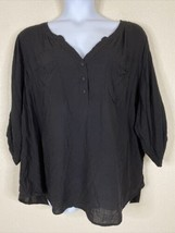 Torrid Womens Plus Size 4 (4X) Black Button Neck Pocket Blouse Elbow Sleeve - $21.78