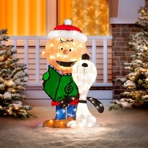 """32"""" Outdoor Lighted Peanuts Charlie Brown Snoopy Christmas Caroling Deco... - £70.21 GBP"""