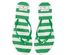 New Kate Spade Nassau Green & White Striped Flip Flop - Msrp $48.00! - $22.45