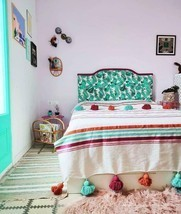 MOROCCAN POMPOM BLANKET Cotton Luxury Bohemian Bed Spread Throws Colorful - $69.99+