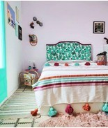 MOROCCAN POMPOM BLANKET Cotton Luxury Bohemian Bed Spread Throws Colorful - £50.24 GBP+