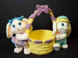 Hallmark Crayola plastic bunnies with basket figurine 1991 original box Easter - $6.95