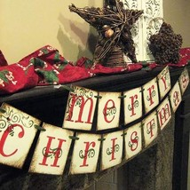 Merry Christmas Banner, Vintage Xmas Decorations Indoor for Home Office ... - $12.29