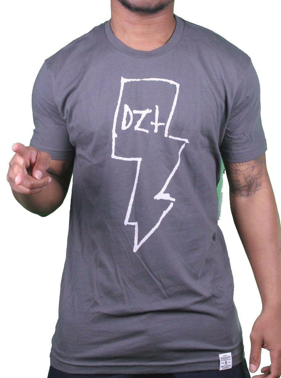 Dissizit Compton Los Angeles Slick Mens Charcoal White Lightning Tee Shirt NWT