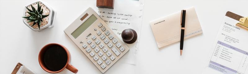 vignette of various office supplies on a desk
