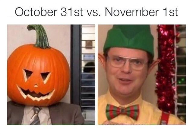image shows the character Dwite from the tv show the office in a pumpkin head and an image of him wearing an elf hat