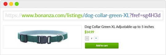 Graphic showing a breakdown of a item listing URL