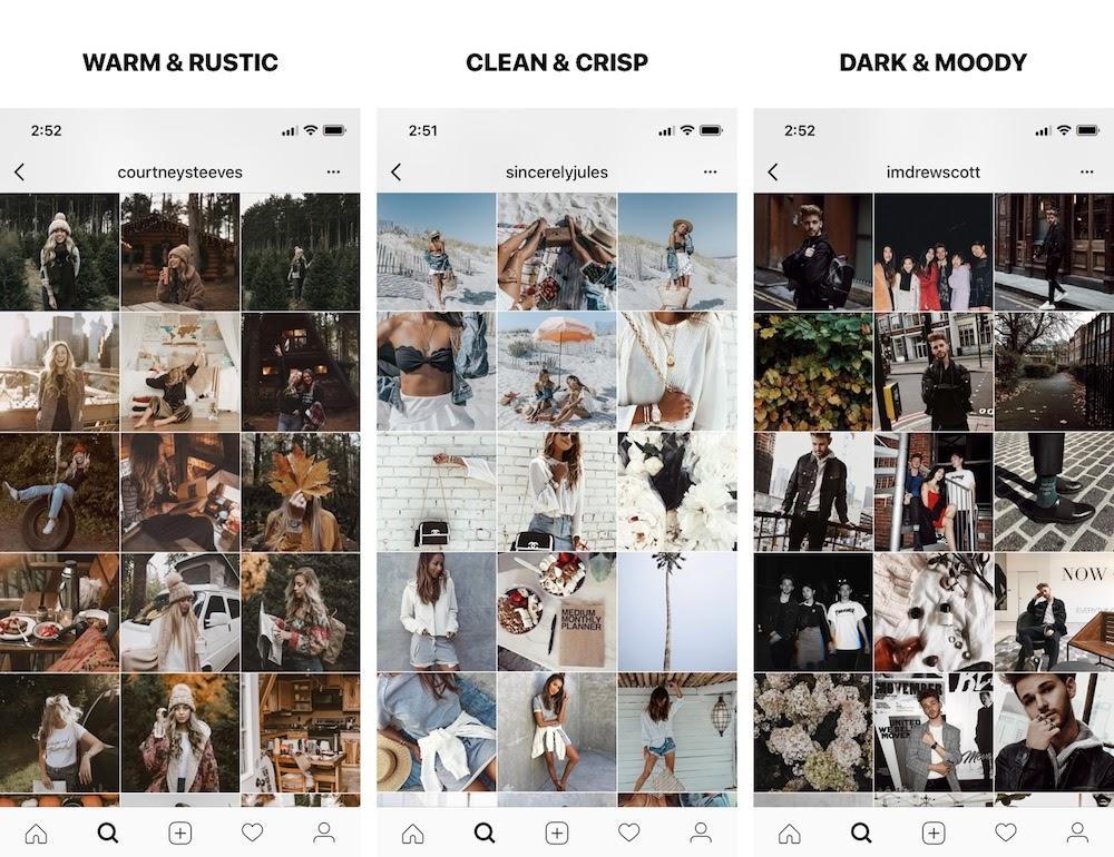 Three examples of different Instagram aesthetics