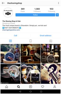 Example of The Shaving Club Instagram branding
