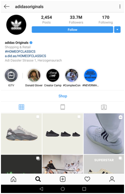 Example of Adidas Instagram branding