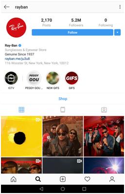 Example of Ray Ban Instagram branding