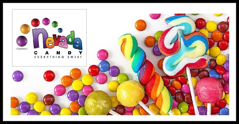 A welcome banner for Discount Gumballs, chocolate, licorice, coffee & bulk candy - Nevada Candy.