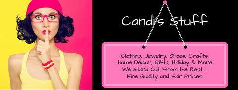 A welcome banner for Candi's Stuff