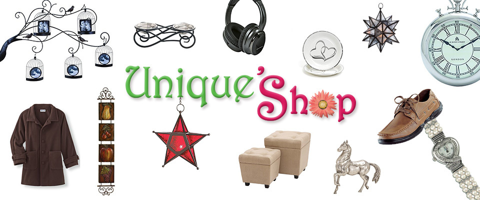 A welcome banner for Unique's Shop