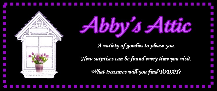 A welcome banner for Abby's Attic