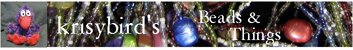 A welcome banner for krisybird's Beads and Things