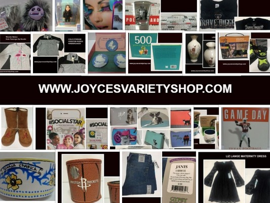 A welcome banner for Joyce's Variety Shop