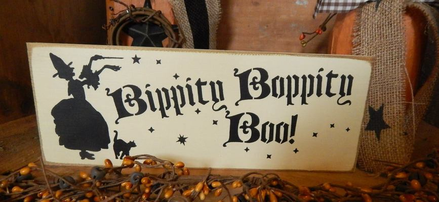 A welcome banner for Bippity Boppity Boo