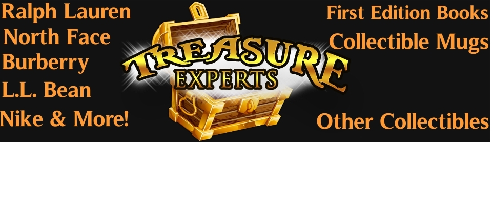 A welcome banner for Treasure Experts Brand Name Clothing & Collectibles