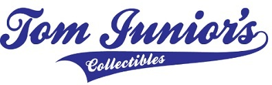 A welcome banner for tom junior's collectibles booth
