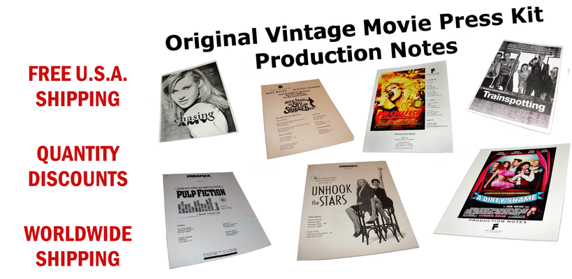 A welcome banner for Original Vintage Hollywood Movie and Motion Picture Press Kit Production Notes
