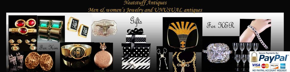 A welcome banner for Neatstuff Antiques has Vintage & Antique Estate jewelry & cool antiques