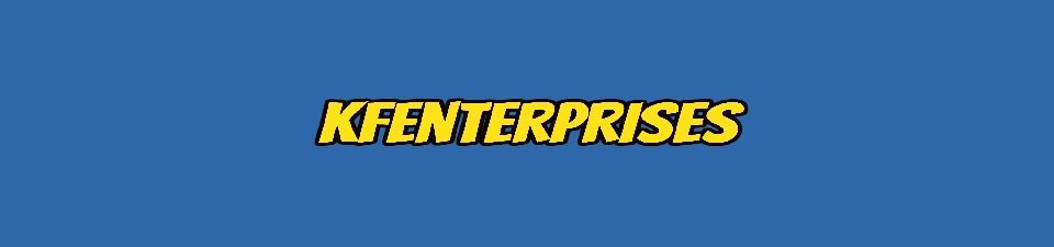 A welcome banner for KFEnterprises Booth