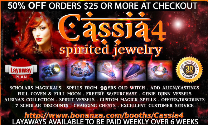 "A welcome banner for Cassia4's Spirited Jewelry ""Feel the Magick"" Haunted Rings Spell Cast Jewelry"