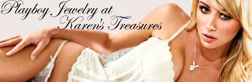 A welcome banner for Playboy Jewelry at Karen's Treasures is on sale - up to 75% off retail prices!