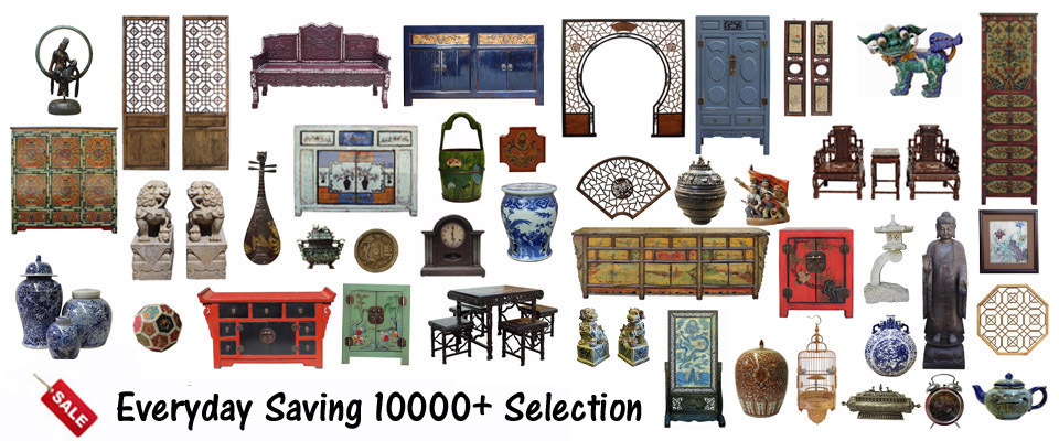 A welcome banner for Golden Lotus Antiques