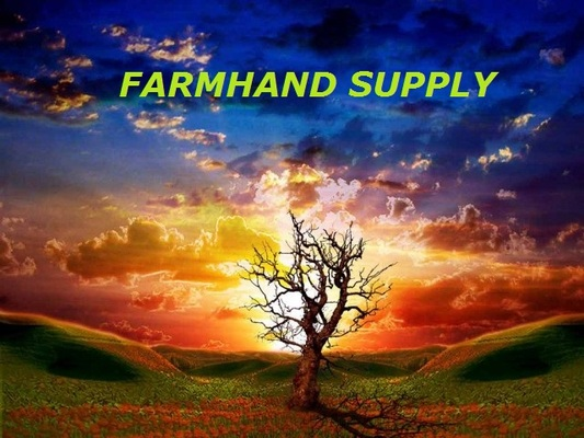 A welcome banner for Farmhand Supply's booth