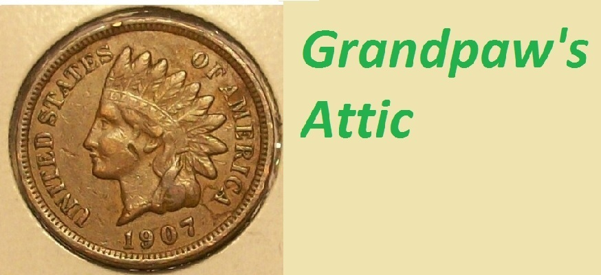A welcome banner for Grandpaw's Attic