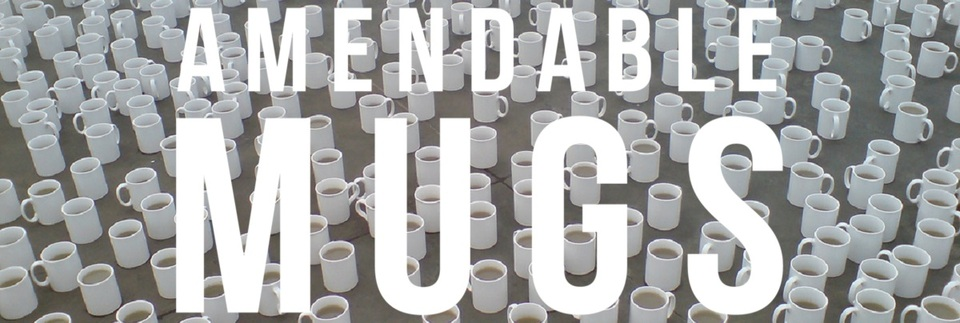 A welcome banner for Amendable Mugs