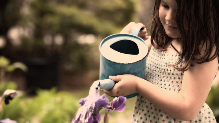 4589 child girl watering flowers thumb960
